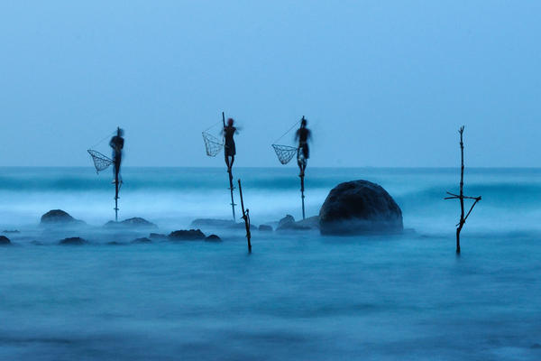 """""""Stilt fishing is a typical fishing technique only seen in Sri Lanka. The fishermen sit on a cross bar called a petta tied to a vertical pole planted into the coral reef."""""""