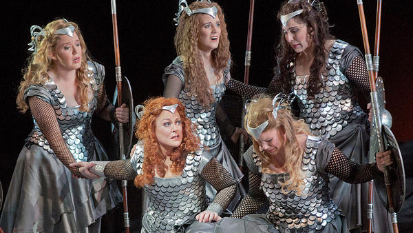The Valkyries, led by Brunnhilde (soprano Debra Voigt, lower left), are the warrior maidens of Richard Wagner's epic <em>Ring</em> cycle.