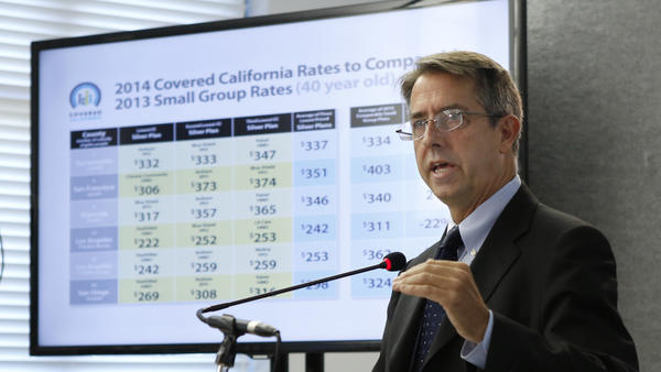 Peter Lee, executive director of Covered California, unveiled the plans and prices that will be offered by private insurers at a media briefing in Sacramento on Thursday.