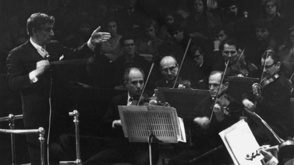 Composer and conductor Leonard Bernstein, shown here conducting the New York Philharmonic orchestra in 1963, was a legend in American music. Letters to and from Bernstein have been compiled into <em>The Leonard Bernstein Letters</em>, a new book edited by Nigel Simeone.