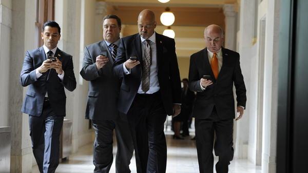 Mark Consuelos (from left), John Goodman, Clark Johnson and Matt Malloy star as four Republican senators sharing a house in Washington in <em>Alpha House, </em>Amazon's first original series.