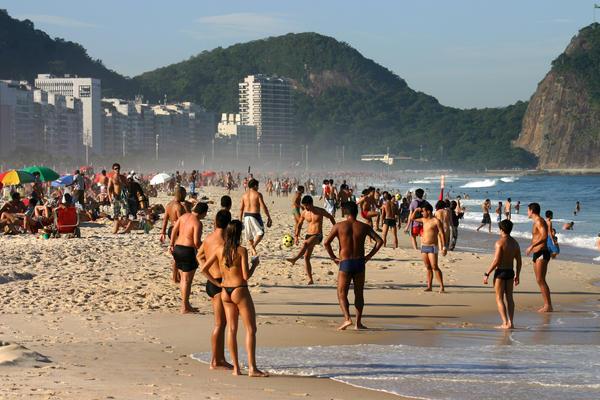 Soccer on the beach in Rio de Janeiro, Brazil.
