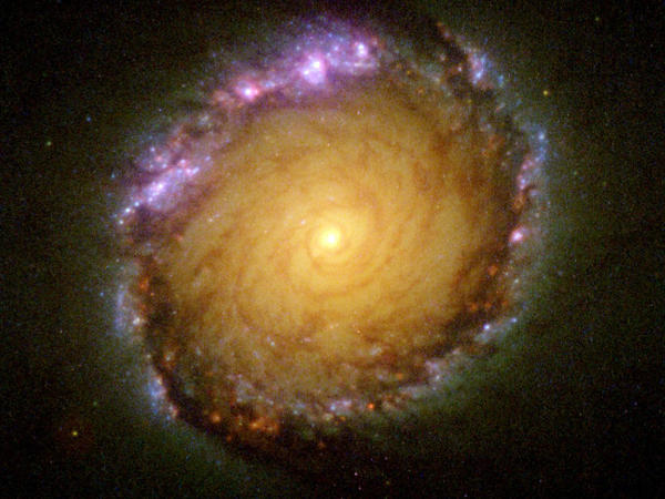 A new study shows energy output from 200,000 galaxies is half what it was billions of years ago. It's further evidence the universe is slowly declining. This undated NASA Hubble Space Telescope image shows the spiral galaxy NGC 1512 captured in all wavelengths from ultraviolet to infrared.