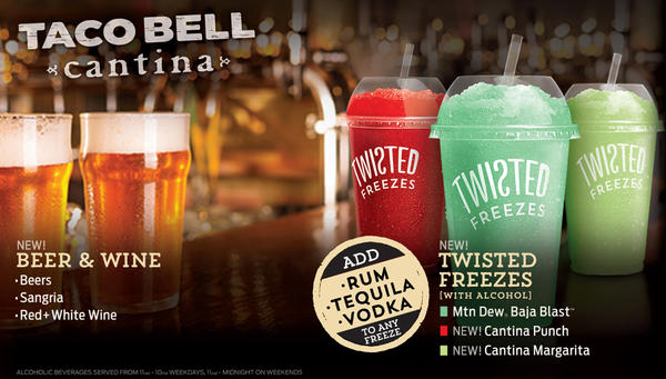 This promotional image provided by Taco Bell shows some of the alcoholic beverages the fast-food chain says it will soon be offering at a location in Chicago.