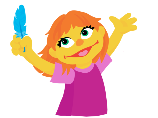 """Julia is described by the Sesame Workshop as """"a preschool girl with autism who does things a little differently when playing with her friends."""""""