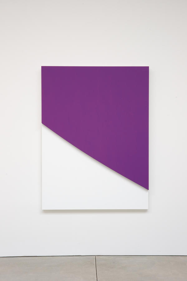 Ellsworth Kelly, <em>Purple Curve in Relief,</em> 2009. Oil on canvas, two joined panels, 70 x 52 3/8 x 2 5/8 inches. Private collection.