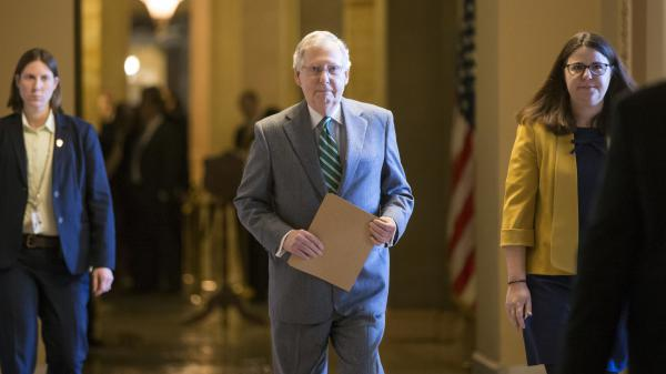 Senate Majority Leader Mitch McConnell walks to the chamber following President Obama's nomination of Merrick Garland for Supreme Court justice Wednesday.