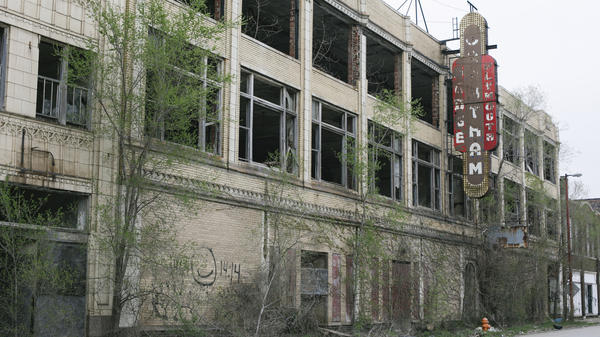 An abandoned building on Washington Street in downtown Gary, Ind. Once a booming steel town, Gary's population has dropped sharply, resulting in abandonment and decay.