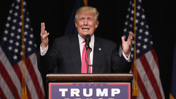 Donald Trump makes a campaign stop in Scranton, Pa., on Wednesday. He faced a day of harsh criticism from across the political spectrum for appearing to urge Russia to hack his Democratic rival's email.