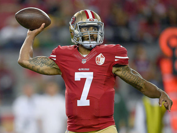 Quarterback Colin Kaepernick of the San Francisco 49ers throws a pass against the Green Bay Packers in the first half of their preseason football game on Friday in Santa Clara, California.