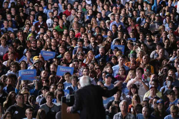 Thousands of people gathered to hear Democratic presidential candidate Sen. Bernie Sanders during a campaign rally Sept. 14, 2015, at the Prince William County Fairgrounds in Manassas, Va.