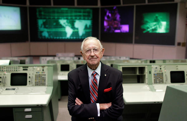 NASA Mission Control founder Chris Kraft in the old mission control at Johnson Space Center in Houston. This original mission control of the Apollo era is a national historic landmark.