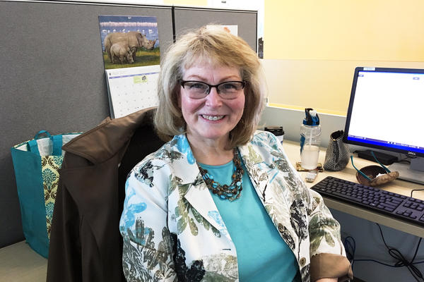 Gail Dougherty, 61, was a project manager at Intel until she retired in 2016. Now she is working part time at a health center, part of a fellowship paid by Intel as a regular retirement benefit.