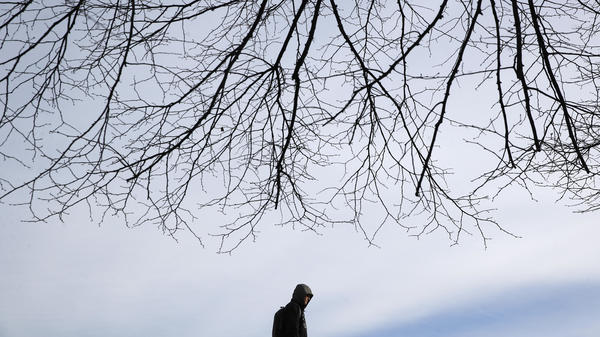 A man walks beneath a tree in Baltimore Wednesday as temperatures remain stubbornly below freezing.