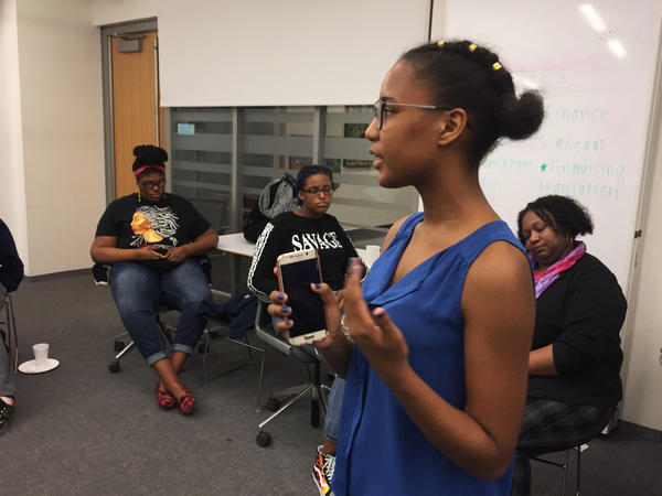 """Vikiana Petit-Homme, 16, led a meeting in Boston this week to recruit more students for the national student walk out planned for March 14. """"We're just going to do what we have to,"""" she says."""