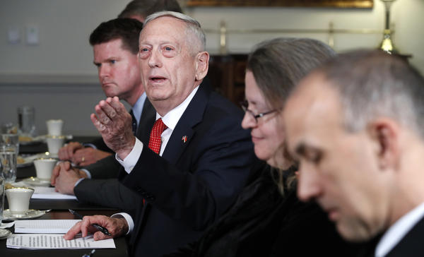 Defense Secretary Jim Mattis speaks at the Pentagon Monday. The military received a big boost in funding last week, raising the overall budget to $700 billion this year.