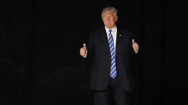 Then-candidate Donald Trump appears at a political event in Dallas on the same day in June 2016 that he was deposed in a lawsuit over a contract dispute. Trump is often more subdued while testifying under oath, but he can show a combativeness familiar on the campaign trail.