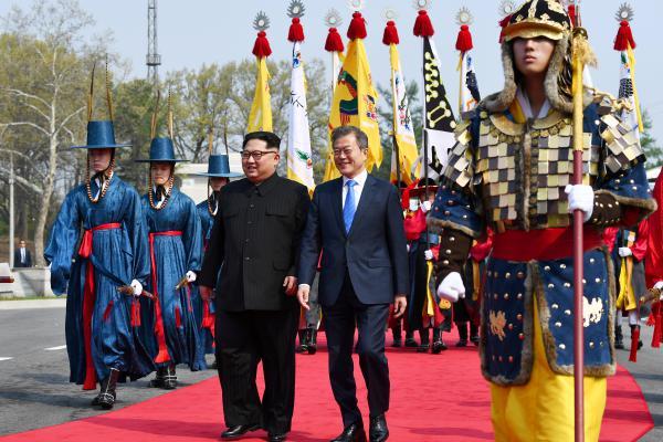 North Korean leader Kim Jong Un and South Korean President Moon Jae-in meet in the truce village.