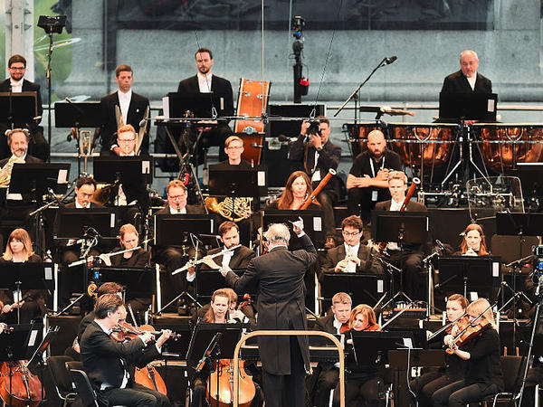 The London Symphony Orchestra, performing with conductor Valery Gergiev in London's Trafalgar Square in May 2016.