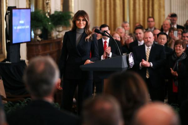 Melania Trump delivers remarks during the White House Opioid Summit on March 1, 2018. The summit was organized to focus attention on the national opioid addiction crisis and how to combat the epidemic.