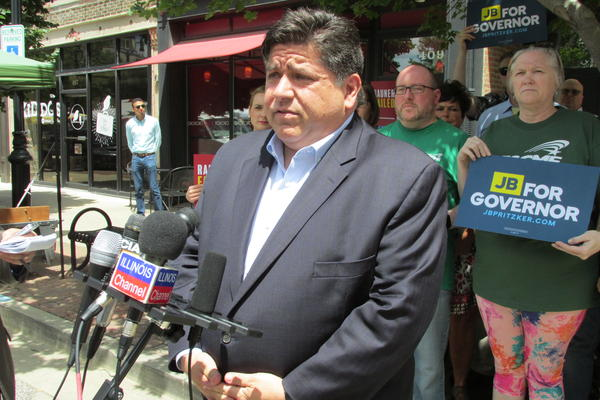 Gubernatorial candidate J.B. Pritzker addresses the media on the Janus labor case decision at an event in Springfield on June 27.