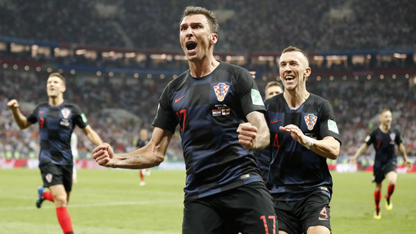 Croatia's Mario Mandzukic celebrates after scoring the winning goal in extra time as Croatia beat England 2-1 in a World Cup semifinal on Wednesday.