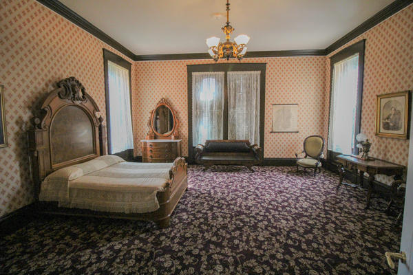 A bedroom in the Governor's Mansion. The designers decided to restore the building to how it might have looked in the late 1800s.
