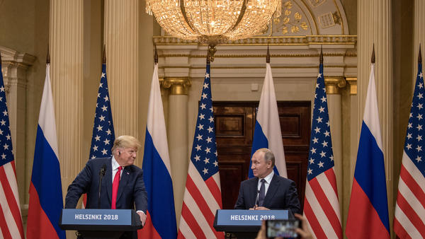 President Trump and Russian President Vladimir Putin speak to the media during a joint press conference after their summit on Monday in Helsinki.