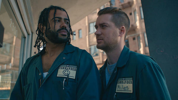 Longtime friends Daveed Diggs (left) and Rafael Casal co-wrote and co-star in the film <em>Blindspotting</em>.