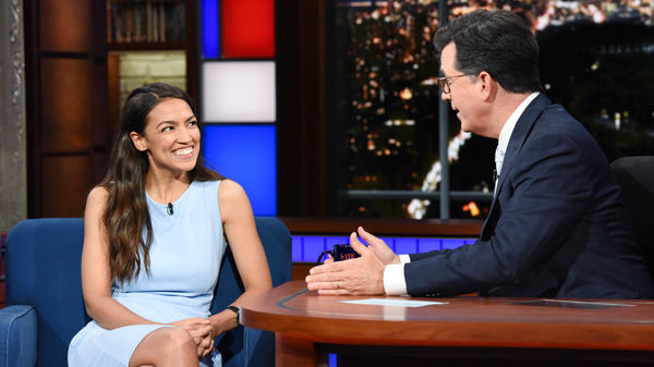 Alexandria Ocasio-Cortez appears on <em>The Late Show with Stephen Colbert</em> in June.