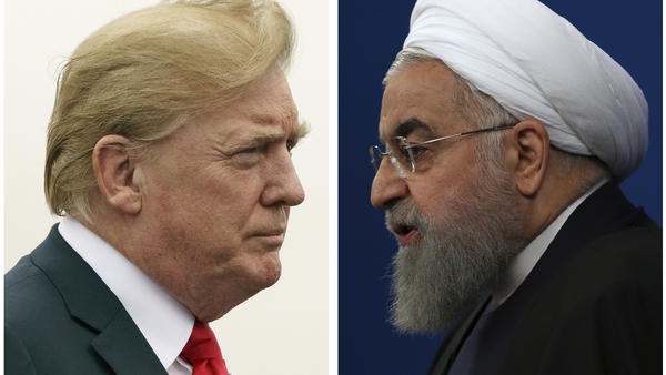 "President Trump issued a strongly worded all-caps, late-night tweet after Iranian President Hassan Rouhani (right) said that war with Iran would be ""the mother of all wars and peace with Iran is the mother of all peace."""