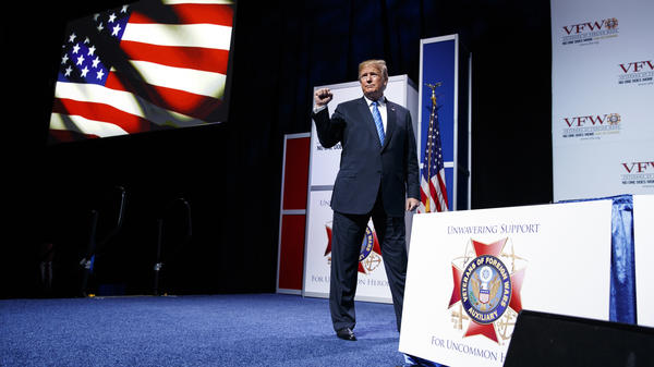"During a speech to the VFW in Kansas City, Mo., President Trump said farmers ""will be the biggest beneficiary"" of his tariffs, and he urged them to ""just be a little patient."""