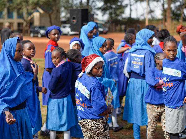Girls at the St. John's Community Centre in Nairobi, Kenya, attend an event supported by PEPFAR, the President's Emergency Plan for AIDS Relief.