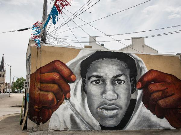 A mural of Trayvon Martin is seen on the side of a building in the Sandtown neighborhood where Freddie Gray was arrested on April 30, 2015 in Baltimore.