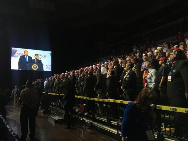 The scene inside Municipal Auditorium in Kansas City as President Donald Trump speaks Tuesday.