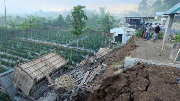 Damage is seen after a magnitude 6.4 earthquake rocked Lombok, Indonesia, early Sunday.