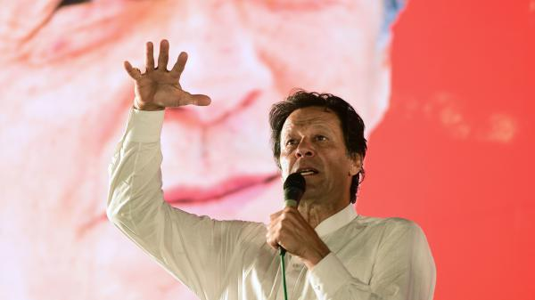 Imran Khan addresses a political campaign rally ahead of the general election in Islamabad on July 21. He's been in the public eye for decades, first as a cricket player, and now is set to become prime minister.