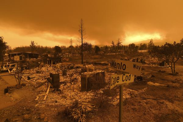 Homes leveled by the Carr Fire line the Lake Keswick Estates area of Redding, Calif., on Friday.