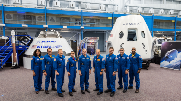 NASA has named nine astronauts to crew the first test flights and missions of Boeing's CST-100 Starliner and SpaceX's Crew Dragon capsule. From left to right: Sunita Williams, Josh Cassada, Eric Boe, Nicole Mann, Christopher Ferguson, Douglas Hurley, Robert Behnken, Michael Hopkins and Victor Glover.