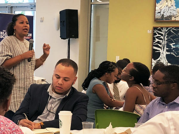 Jessica Byrd, the founder of Three Point Strategies, leads a session on stump speeches at the second annual Black Campaign School in Atlanta, Ga.