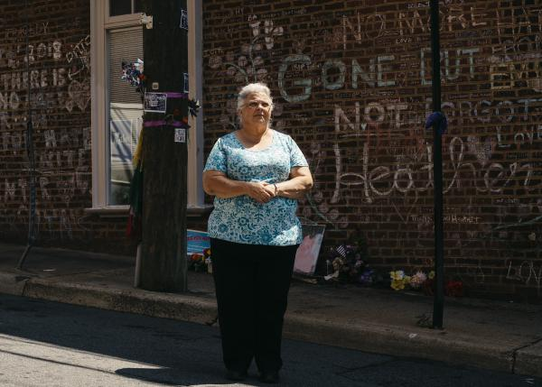 Susan Bro stands on 4th Street Southeast in Charlottesville, Va., where where her daughter, Heather Heyer, was killed. Heyer died in August 2017 during a violent white nationalist rally.