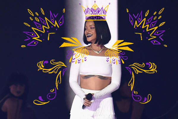 Rihanna performs on stage at the BRIT Awards in 2016.
