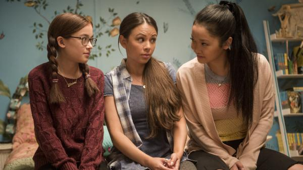 L to R: Anna Cathcart, Janel Parrish, and Lana Condor play Kitty, Margot, and Lara Jean Covey in <em>To All the Boys I've Loved Before</em>.