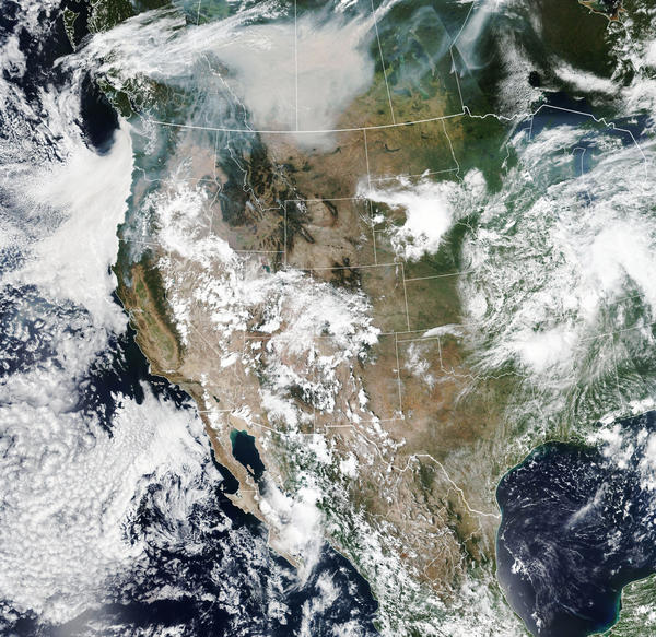 The smoke from wildfires in Canada on Aug. 15, 2018 was visible from a 1 million miles away.