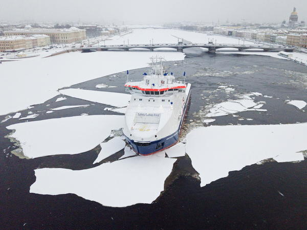 An aerial view of the Yevgeny Primakov icebreaker on the ice-covered Neva River in St. Petersburg, Russia. Maersk, the world's largest shipping line, is testing a Vladivostok to St. Petersburg route through the Arctic.