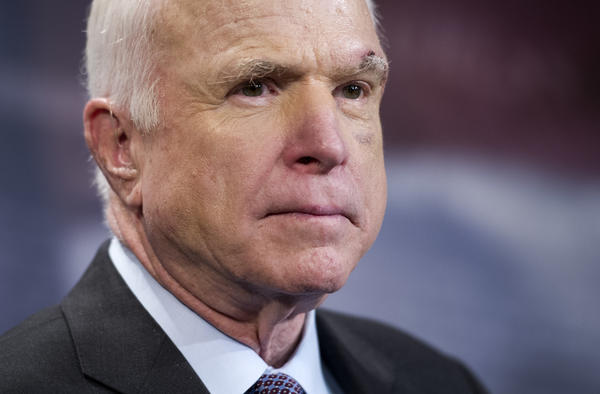 Sen. John McCain, R-Ariz., speaks to reporters on Capitol Hill in Washington last July. The Mayo Clinic announced that same month that he had been diagnosed with brain cancer.