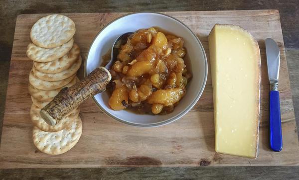 Chef Kathy Gunst's peach and golden raisin chutney. (Kathy Gunst for Here & Now)