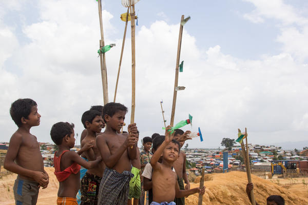 In the Balukhali refugee camp, boys between the ages of seven and 11 play with <em>forfori</em>, homemade toy airplanes.