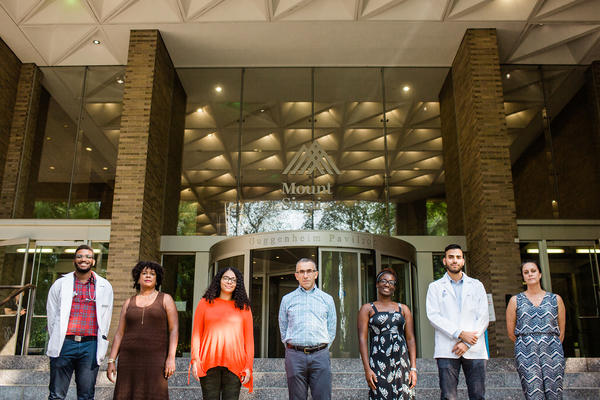 Students and administrators at the Icahn School of Medicine are working to fight racial disparities at their school, including: (from left) Masrai Williams, Michelle Sainté, Giselle Lynch, Dr. David Muller, Eziwoma Alibo, Michael Espino and Shashi Anand.