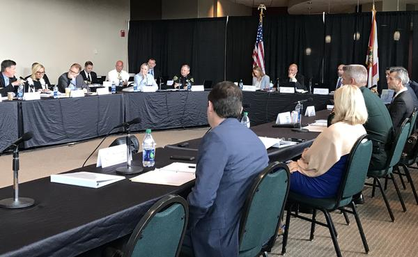 Commissioners hold a roundtable about school resource officers at schools Thursday morning inside the BB&T Center.